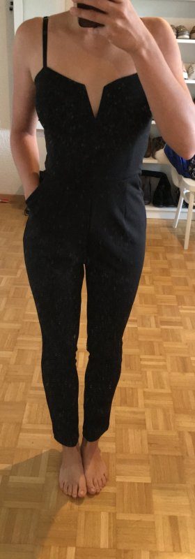 Cooler jumpsuit overall business schwarz sexy business hose jeans top bluse