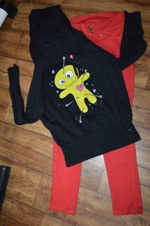 Pull à capuche noir-jaune