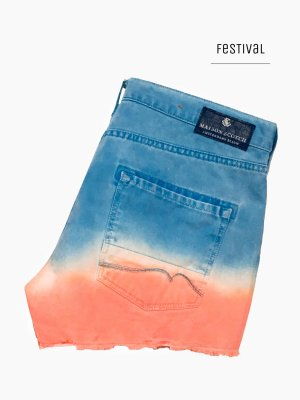 Cooler & lässiger hotpants in blau weiß neon rosa Five Pocket Jeans Fransen / Maison Scotch / M