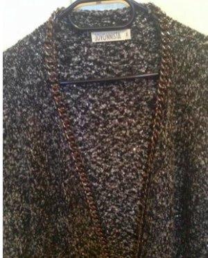 Cooler langer schwarz grauer Woll Cardigan mit Ketten