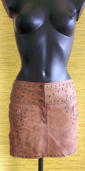 Rockgewitter Leather Skirt light brown-brown leather