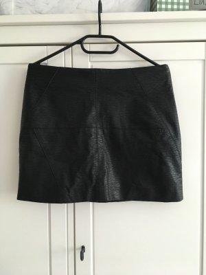 H&M Jupe en cuir synthétique noir-argenté