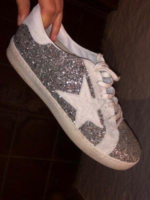 Cooler LederSneaker Gio +  silber Glitzer ** Stern Gr.40 wie Golden Goose