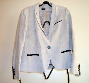 1-2-3 Paris Short Blazer light grey-black linen