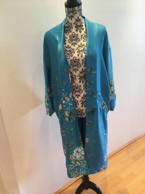 Zara Manteau turquoise fibre synthétique