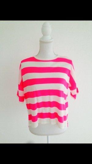 Cooler Pulli von benetton, pink-weiß, Gr. S