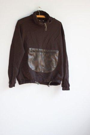 Cooler Pullover Pull&Bear 36/38 Kunstleder Tasche schwarz