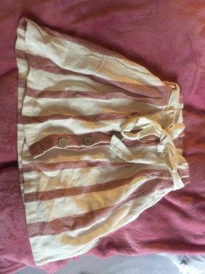 Falda de talle alto crema-rosa