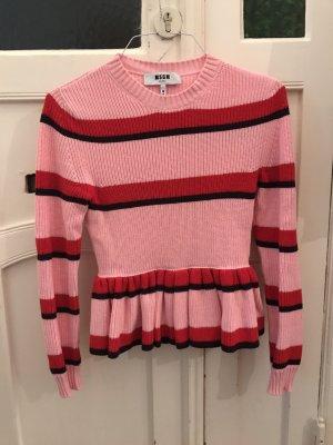 Cooler Rosa gestreifter Pullover mit Schößchen von MSGM Volants Strickpullover Rot