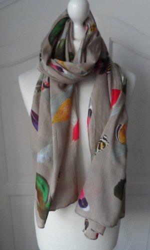 cooler Schal aus Baumwolle mit Federmuster Beige Bunt