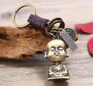 Cooler Schchlüsselanhänger Buddha für Männer und Frauen, aus Metall und Leder NEU