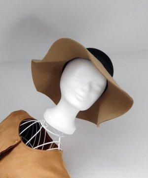 Chapeau à larges bords brun sable-noir laine