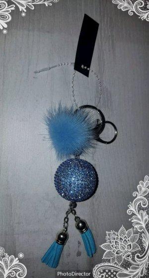 Porte-clés argenté-bleuet