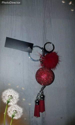 Cooler Schlüssel-/ Taschenanhänger/ Kugel aus Strass mit Puschel und Quaste ♥️rot