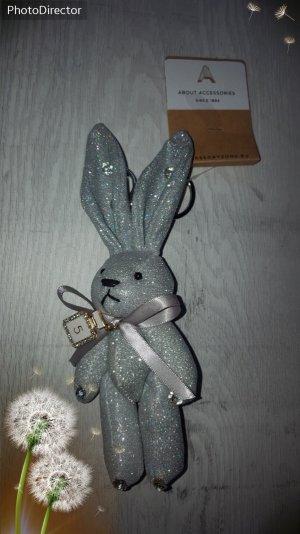 Cooler Schlüssel-/ Taschenanhänger Schwarz glitzer Hase Nr. 5 mit Strass