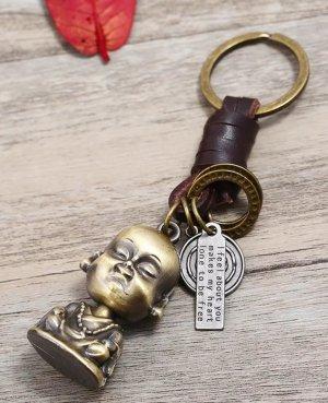 Cooler Schlüsselanhänger Buddha  aus Metall und Leder *NEU*/ Männer und Frauen