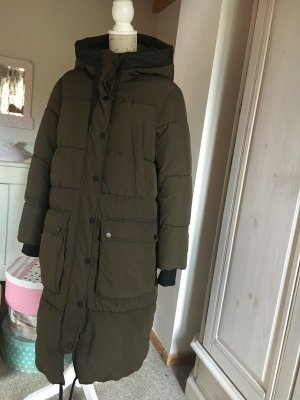 H&M Quilted Coat green grey-ocher polyester