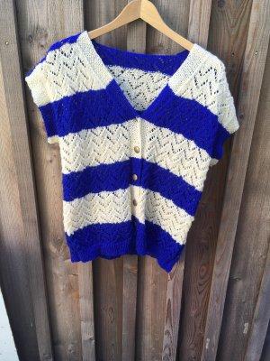 Vintage Gebreid jack met korte mouwen wit-blauw