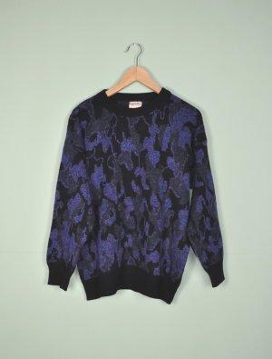 Vintage Oversized trui zwart-blauw