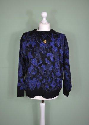 Cooler Vintage Pullover mit Blumenranken in Königsblau