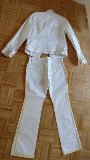 Cooler weisser Bogner Jeans Anzug mit gelben Streifen Gr 38
