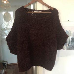 Cooler Wollpulli mit Fledermausrämeln von ZARA Knit in bordeauxrot