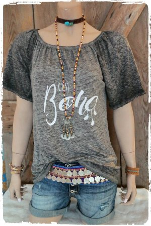 Cooles Boho Shirt Tunika reines Leinen