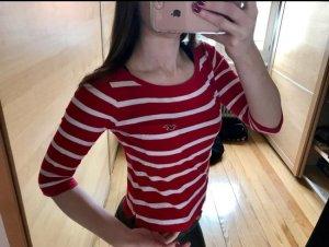 Hollister Stripe Shirt white-dark red