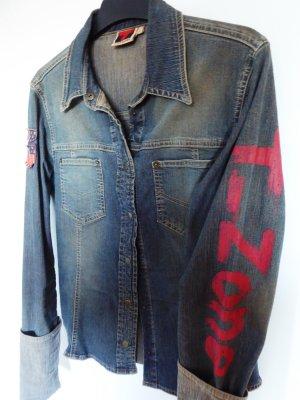 Cooles Jeans-Hemd im angesagten Used-Look mit Print