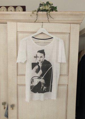 Zara Print Shirt white-black linen