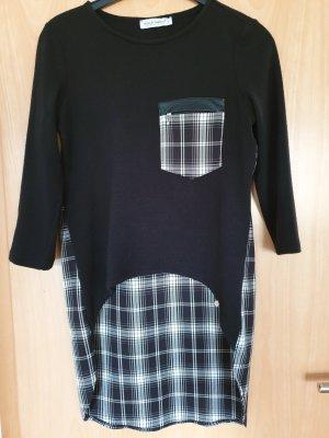 Rinascimento Pull long noir-blanc tissu mixte