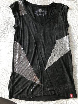 Cooles Party Shirt von Esprit Edc schwarz mit Pailletten