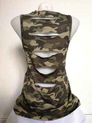 Cooles Shirt im Army Style mit Cuts (Gr. S), Neu!