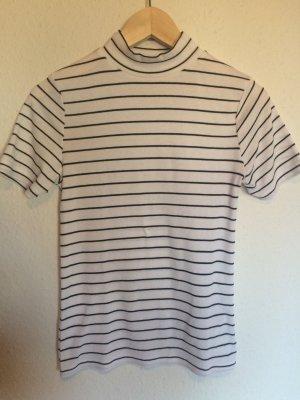 Cooles Shirt mit Kragen schwarz/weiß gestreift, Ripped, Rippenstruktur