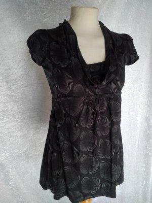 Street One Camisa de corte imperio negro-gris tejido mezclado