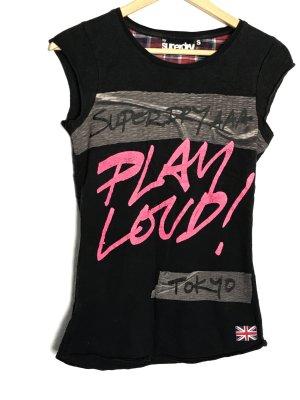 Superdry Camicia fantasia nero-rosa