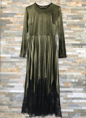 Cooles Velvet Kleid mit einem plissiertem Rock im Khaki-Ton in Gr. XS-S NEU