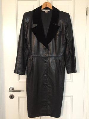 Cooles Vintage Saint Laurent Kleid Lederkleid schwarz 38 D