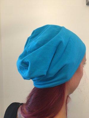 Beanie donkerblauw-neon blauw