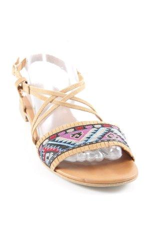 Copo da Nieve Sandalo con cinturino e tacco alto marrone-lilla Motivo Azteco