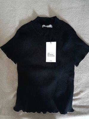 Copped Shirt von ZARA - schwarz mit silbernen – Gr. S – NEU!