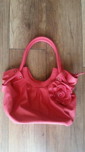 coralfarbene Tasche mit Blume