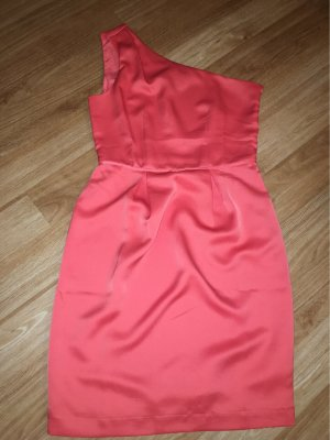 Corallfarbenes Cocktail/One-Shoulder-Kleid