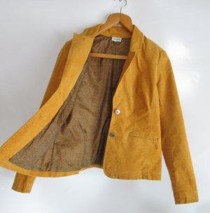 Cord Blazer Street One Größe M 38 / 40 Jacke Babycord Kord Maisgelb Gelb Retro Ellenbogen Patches