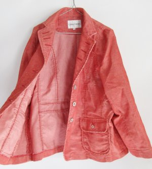 Cord Übergangsjacke Blazer Gina Laura Größe XL 44 Orange Weiß Streifen Jacke Kord Meliert