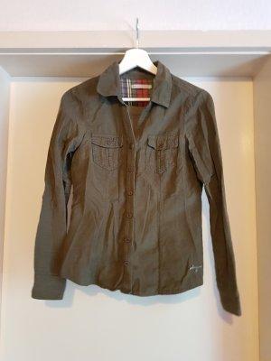 Cordbluse in khaki mit aufgesetzten Brusttaschen