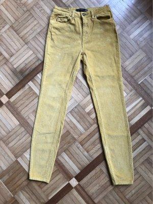 Amisu Pantalone di velluto a coste giallo-oro-giallo pallido