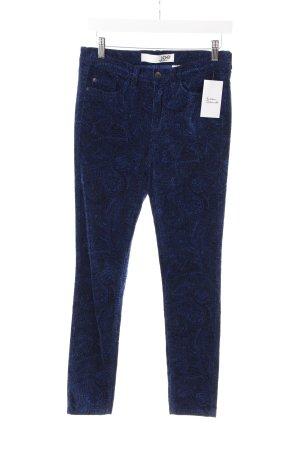 Cordhose dunkelblau-schwarz Paisleymuster extravaganter Stil