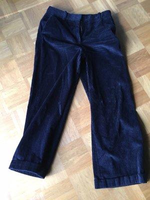 COS Pantalone di velluto a coste blu scuro