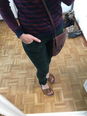 Promod Pantalone di velluto a coste verde scuro Cotone